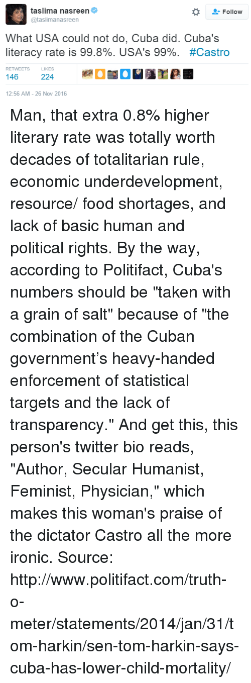 """Transparencies: taslima nasreen  Follow  @taslimanasreen  What USA could not do, Cuba did. Cuba's  literacy rate is 99.8%. USA's 99%  #Castro  RETWEETS  146  224  12:56 AM 26 Nov 2016 Man, that extra 0.8% higher literary rate was totally worth decades of totalitarian rule, economic underdevelopment, resource/ food shortages, and lack of basic human and political rights.   By the way, according to Politifact, Cuba's numbers should be """"taken with a grain of salt"""" because of """"the combination of the Cuban government's heavy-handed enforcement of statistical targets and the lack of transparency.""""  And get this, this person's twitter bio reads, """"Author, Secular Humanist, Feminist, Physician,"""" which makes this woman's praise of the dictator Castro all the more ironic.   Source: http://www.politifact.com/truth-o-meter/statements/2014/jan/31/tom-harkin/sen-tom-harkin-says-cuba-has-lower-child-mortality/"""