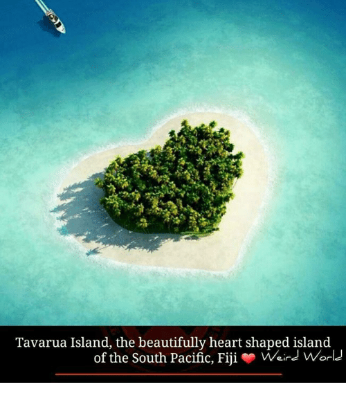 heart shape: Tavarua Island, the beautifully heart shaped island  of the South Pacific, Fiji  o Weird World
