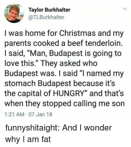 "Beef, Christmas, and Hungry: Taylor Burkhalter  @TLBurkhalter  I was home for Christmas and my  parents cooked a beef tenderloin.  I said, ""Man, Budapest is going to  love this."" They asked who  Budapest was. I said ""I named my  stomach Budapest because it's  the capital of HUNGRY"" and that's  when they stopped calling me son  1:21 AM 07 Jan 18 funnyshitaight: And I wonder why I am fat"