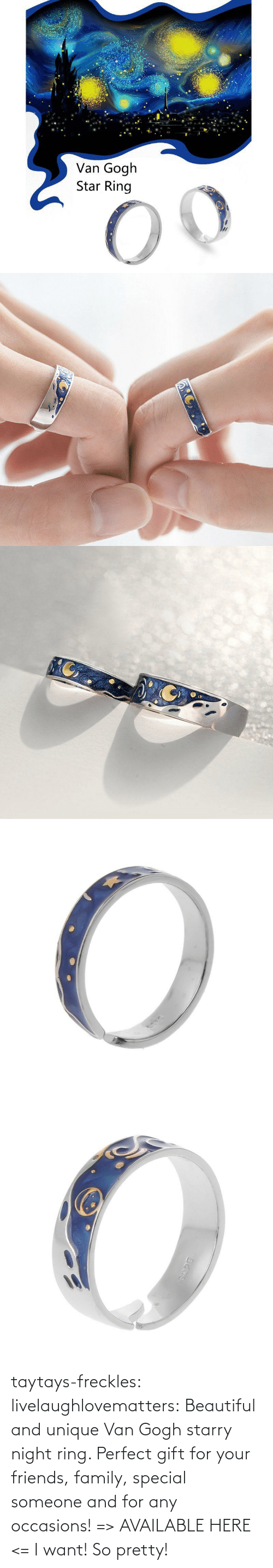 sky: taytays-freckles: livelaughlovematters:  Beautiful and unique Van Gogh starry night ring. Perfect gift for your friends, family, special someone and for any occasions! => AVAILABLE HERE <=    I want! So pretty!