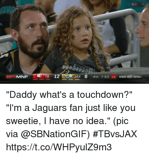 "Football, Sports, and Monday: TB 12  JAX 6 4TH 7:53 25 MONDAY NIGHT FOOTBALL ""Daddy what's a touchdown?"" ""I'm a Jaguars fan just like you sweetie, I have no idea.""  (pic via @SBNationGIF) #TBvsJAX https://t.co/WHPyulZ9m3"