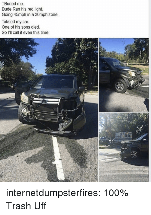 Anaconda, Dude, and Trash: TBoned me.  Dude Ran his red light.  Going 45mph in a 30mph zone.  Totaled my car.  One of his sons died  So I'll call it even this time.  Ne  tfi internetdumpsterfires:  100% Trash  Uff