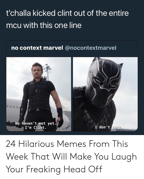Head, Memes, and Marvel: t'challa kicked clint out of the entire  mcu with this one line  no context marvel @nocontextmarvel  e haven't met yet.  I'm Clint.  I don't 24 Hilarious Memes From This Week That Will Make You Laugh Your Freaking Head Off