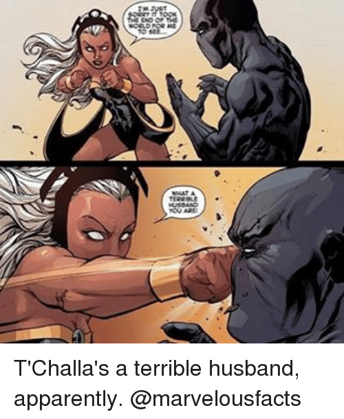Terribler: T'Challa's a terrible husband, apparently. @marvelousfacts
