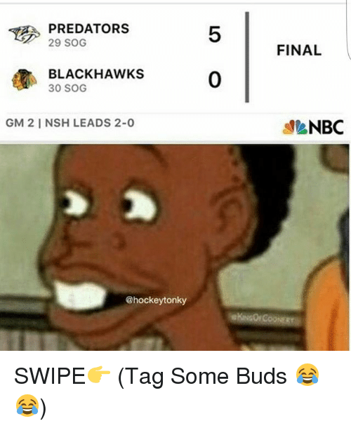 Blackhawks, Memes, and 🤖: TE 29 SOG  PREDATORS  BLACKHAWKS  30 SOG  GM 21 NSH LEADS 2-0  @hockeytonky  FINAL  NBC SWIPE👉 (Tag Some Buds 😂😂)