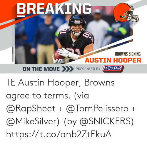 Browns: TE Austin Hooper, Browns agree to terms. (via @RapSheet + @TomPelissero + @MikeSilver)  (by @SNICKERS) https://t.co/anb2ZtEkuA
