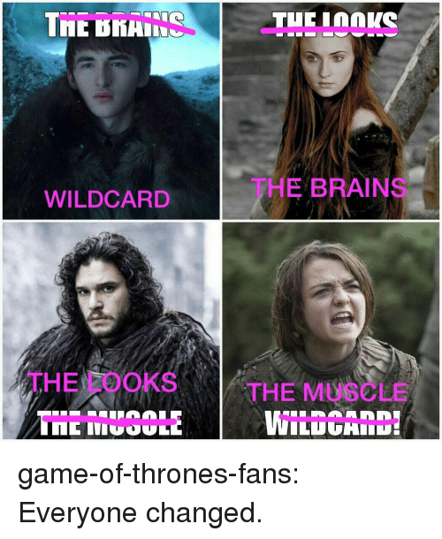 Brains, Game of Thrones, and Tumblr: TE KHIS  THE BRAINS  WILDCARD  THE LOOKS  THE MUSCLE  WILDCAID game-of-thrones-fans:  Everyone changed.