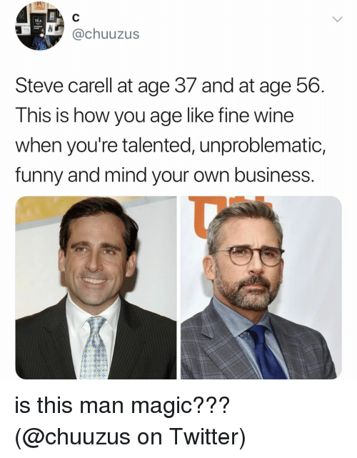 Funny, Memes, and Steve Carell: TEA  @chuuzus  Steve carell at age 37 and at age 56.  This is how you age like fine wine  when you're talented, unproblematic,  funny and mind your own business.  Ty is this man magic??? (@chuuzus on Twitter)