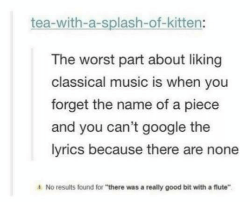 """flute: tea-with-a-splash-of-kitten:  The worst part about liking  classical music is when you  forget the name of a piece  and you can't google the  lyrics because there are none  4 No results found for """"there was a really good bit with a flute"""""""