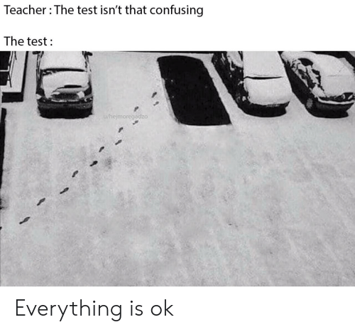 Confusing: Teacher The test isn't that confusing  The test  u/hejmoregadzo Everything is ok