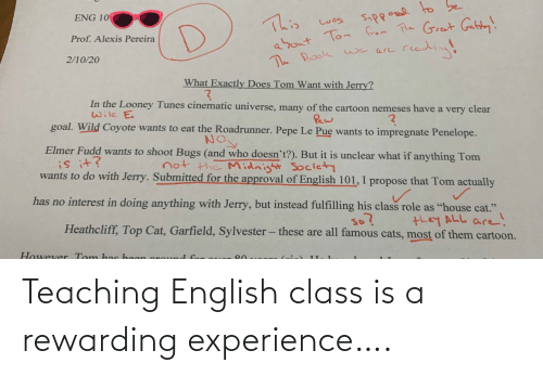 Experience: Teaching English class is a rewarding experience….