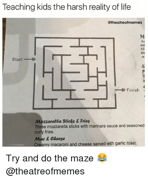 Kidsings: Teaching kids the harsh reality of life  @theatreofmemes  und  All  drin  Start  Finnish  Mozzarelea Stichs & Fries  Three mozzarella sticks with marinara sauce and seasoned  curly fries  Mac & Cheese  my macaroni and cheese served with garlic toast Try and do the maze 😂 @theatreofmemes