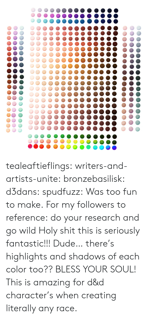 Shadows: tealeaftieflings: writers-and-artists-unite:  bronzebasilisk:  d3dans:  spudfuzz:  Was too fun to make.  For my followers to reference: do your research and go wild  Holy shit this is seriously fantastic!!!  Dude… there's highlights and shadows of each color too?? BLESS YOUR SOUL!   This is amazing for d&d character's when creating literally any race.