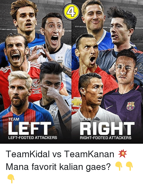 Memes, 🤖, and Mana: TEAM  LEFT RIGHT  LEFT-FOOTED ATTACKERS  RIGHT-FOOTED ATTACKERS TeamKidal vs TeamKanan 💥 Mana favorit kalian gaes? 👇👇👇