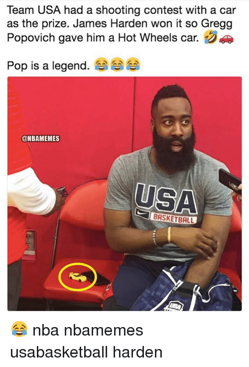 Basketball, James Harden, and Nba: Team USA had a shooting contest with a car  as the prize. James Harden won it so Gregg  Popovich gave him a Hot Wheels car.  Pop is a legend. 숍  @NBAMEMES  USA  BRSKETBALL 😂 nba nbamemes usabasketball harden