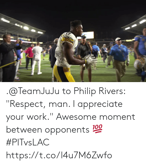 "Philip: .@TeamJuJu to Philip Rivers: ""Respect, man. I appreciate your work.""  Awesome moment between opponents 💯 #PITvsLAC https://t.co/l4u7M6Zwfo"
