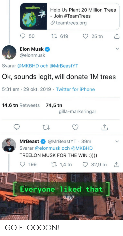 Help Us: TEAMTREES  Help Us Plant 20 Million Trees  Join #TeamTrees  teamtrees.org  2i 619  25 tn  50  Elon Musk  @elonmusk  Svarar @MKBHD och @MrBeastYT  Ok, sounds legit, will donate 1M trees  5:31 em 29 okt. 2019 Twitter for iPhone  14,6 tn Retweets  74,5 tn  gilla-markeringar  @MrBeastYT 39m  MrBeast  Svarar @elonmusk och @MKBHD  TREELON MUSK FOR THE WIN :))))  t 1,4 tn  199  32,9 tn  Everyone liked that GO ELOOOON!