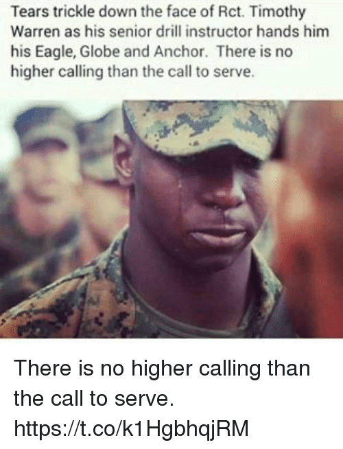 Senioritis: Tears trickle down the face of Rct. Timothy  Warren as his senior drill instructor hands him  his Eagle, Globe and Anchor. There is no  higher calling than the call to serve. There is no higher calling than the call to serve. https://t.co/k1HgbhqjRM