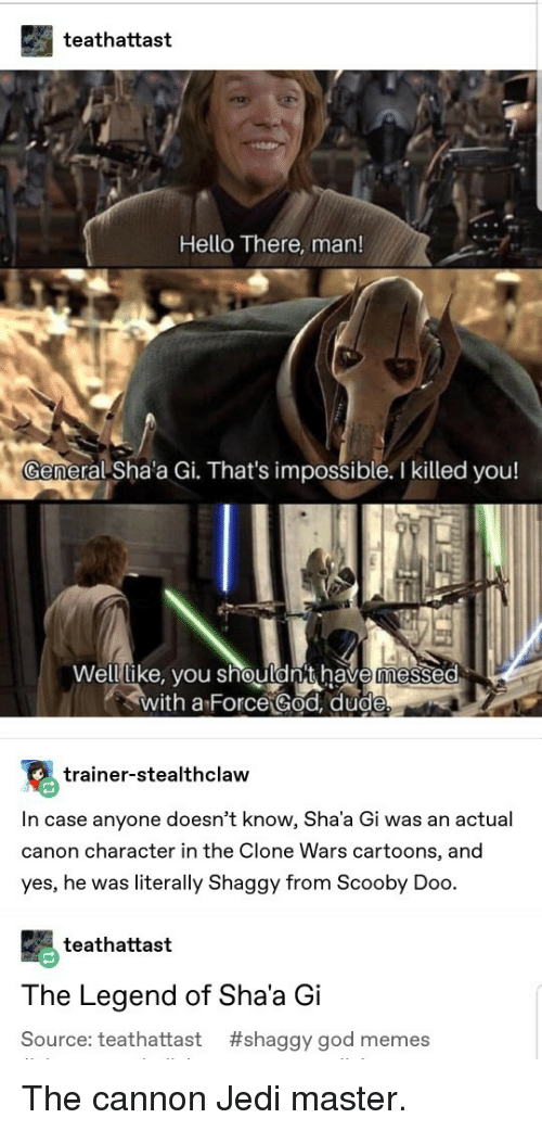 God, Hello, and Jedi: teathattast  Hello There, man!  eral Sha'a Gi. That's impossible. I killed you!  Welllike, vou shouldn't have messed  with a Force God, dud  trainer-stealthclaw  In case anyone doesn't know, Sha'a Gi was an actual  canon character in the Clone Wars cartoons, and  yes, he was literally Shaggy from Scooby Doo.  teathattast  The Legend of Sha'a Gi  Source: teathattast #shaggy god memes The cannon Jedi master.