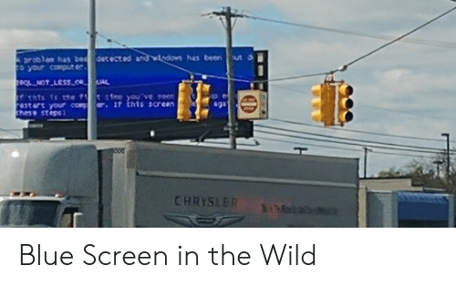 Af, Blue, and Chrysler: tected und wleton has ben t  sgu  astart your cop af this screen  CHRYSLER Blue Screen in the Wild