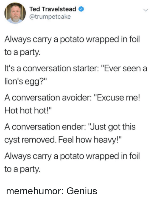 """Party, Ted, and Tumblr: Ted Travelstead  @trumpetcake  Always carry a potato wrapped in foil  to a party.  It's a conversation starter: """"Ever seen a  lion's egg?""""  A conversation avoider: """"Excuse me!  Hot hot hot!""""  A conversation ender: """"Just got this  cyst removed. Feel how heavy!""""  Always carry a potato wrapped in foil  to a party memehumor:  Genius"""