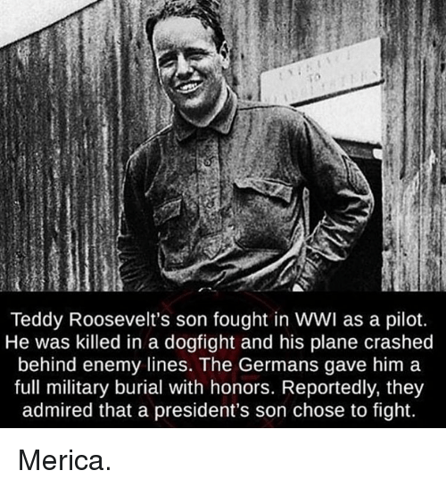 Memes, Presidents, and Military: Teddy Roosevelt's son fought in WWI as a pilot.  He was killed in a dogfight and his plane crashed  behind enemy lines. The Germans gave him a  full military burial with honors. Reportedly, they  admired that a president's son chose to fight. Merica.