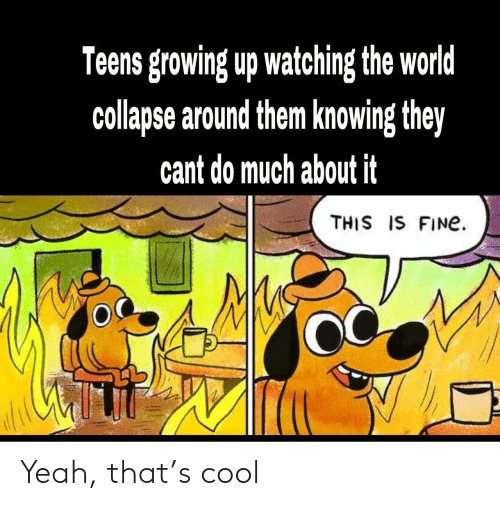 Growing up: Teens growing up watching the world  collapse around them knowing they  cant do much about it  THIS IS FINe Yeah, that's cool
