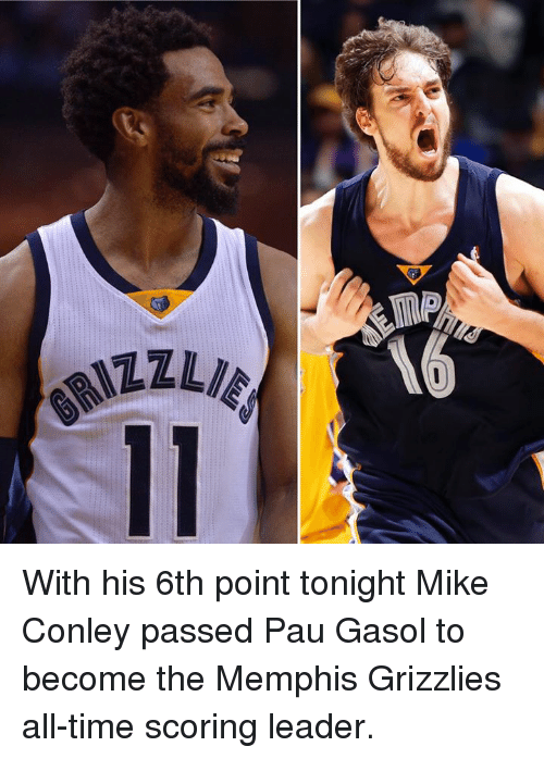 Memphis Grizzlies, Memes, and Memphis Grizzlies: TEL  ZZINI9 With his 6th point tonight Mike Conley passed Pau Gasol to become the Memphis Grizzlies all-time scoring leader.