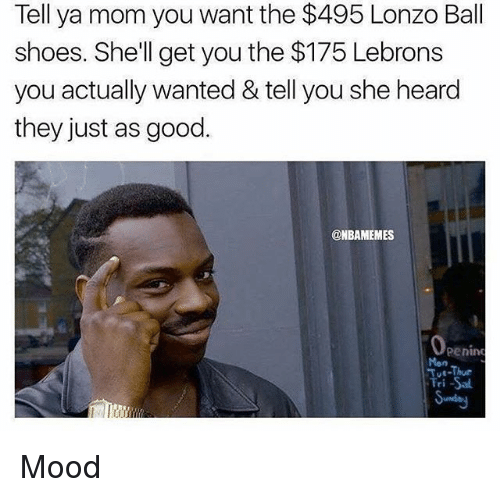 Mood, Nba, and Shoes: Tell ya mom you want the $495 Lonzo Ball  shoes. She'll get you the $175 Lebrons  you actually wanted & tell you she heard  they just as good.  @NBAMEMES  Mon  e-Thue  ri Sal Mood