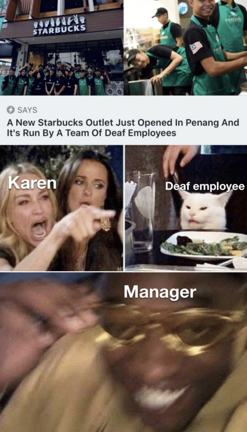 Employee: tellide  STARBUCKS  SAYS  A New Starbucks Outlet Just Opened In Penang And  It's Run By A Team Of Deaf Employees  Karen  Deaf employee  Manager