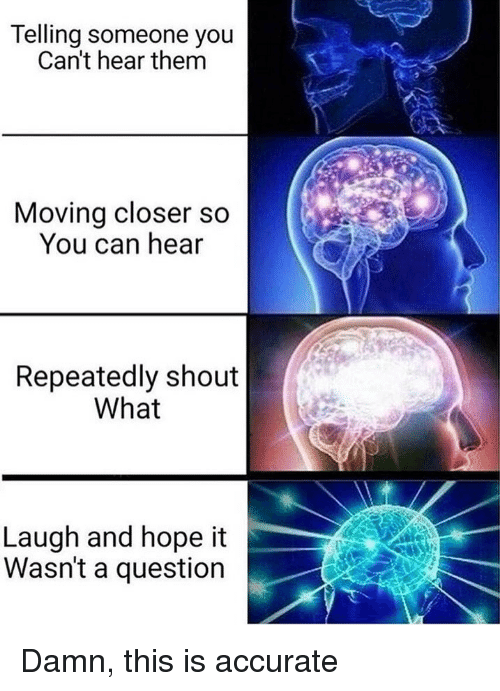 Memes, Hope, and 🤖: Telling someone you  Can't hear them  Moving closer so  You can hear  Repeatedly shout  What  Laugh and hope it  Wasn't a question Damn, this is accurate