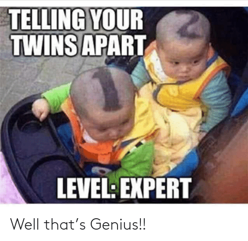 Genius: TELLING YOUR  TWINS APART  LEVEL: EXPERT Well that's Genius!!