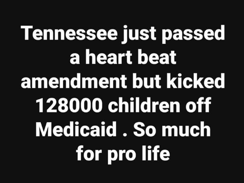 amendment: Tennessee just passed  a heart beat  amendment but kickec  128000 children off  Medicaid. So much  for pro life