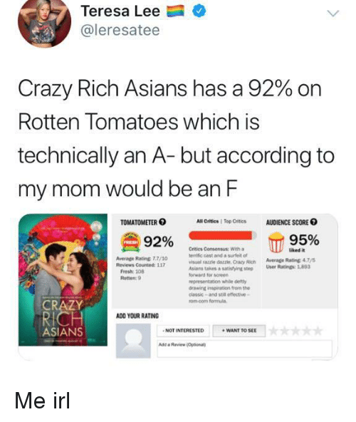 Crazy, Rotten Tomatoes, and Inspiration: Teresa Lee  @leresatee  Crazy Rich Asians has a 92% on  Rotten Tomatoes which is  technically an A- but according to  my mom would be an F  TOMATOMETER  All Critics | Top Critics  AUDIENCE SCORE O  92% сп  Critics Consensus: With a  terrific cast and a surfet ot  visual razzle dazzle, Crazy Rich Average Rating 47  Asians takes  forward for screen  representation while defty  drawing inspiration from the  classic-and stil effective-  rom.com formula  uked it  Average Rating 7.7/10  a satistying step User Ratings:893  Rotten: 9  CRAZY  ADD YOUR RATING  ASIANS  NOT INTERESTED  WANT TO SEE  Add a Review Optional Me irl