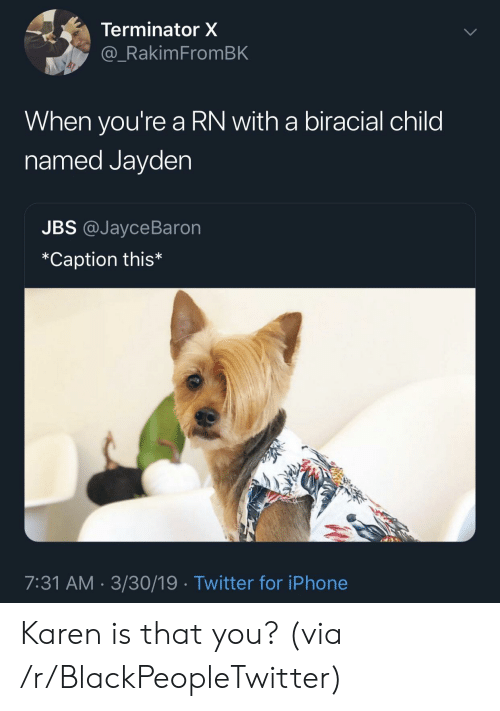 Terminator: Terminator X  _RakimFromBK  When you're a RN with a biracial child  named Jayden  JBS @JayceBaron  *Caption this*  7:31 AM 3/30/19 Twitter for iPhone Karen is that you? (via /r/BlackPeopleTwitter)