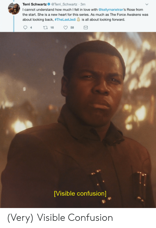 Terri: Terri SchwartzTerri Schwartz 3m  I cannot understand how much I fell in love with @kellymarietran's Rose from  the start. She is a new heart for this series. As much as The Force Awakens was  about looking back, #TheLastJedi is all about looking forward.  94 tl 6 58  [Visible confusion] (Very) Visible Confusion