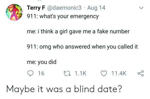Called It: Terry F @daemonic3 Aug 14  911: what's your emergency  me: i think a girl gave me a fake number  911: omg who answered when you called it  me: you did  16  11.1K  11.4K Maybe it was a blind date?