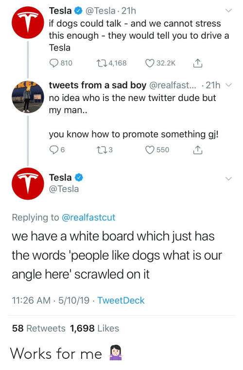 Dogs, Dude, and Twitter: Tesla  @Tesla 21h  T  if dogs could talk - and we cannot stress  this enough they would tell you to drive a  Tesla  t1.4,168  32.2K  810  tweets from a sad boy @realfast... .21h  no idea who is the new twitter dude but  my man..  you know how to promote something gj!  tl3  550  T  Tesla  @Tesla  Replying to @realfastcut  we have a white board which just has  the words 'people like dogs what is  angle here' scrawled on it  11:26 AM 5/10/19 TweetDeck  58 Retweets 1,698 Likes Works for me 🤷🏻♀️