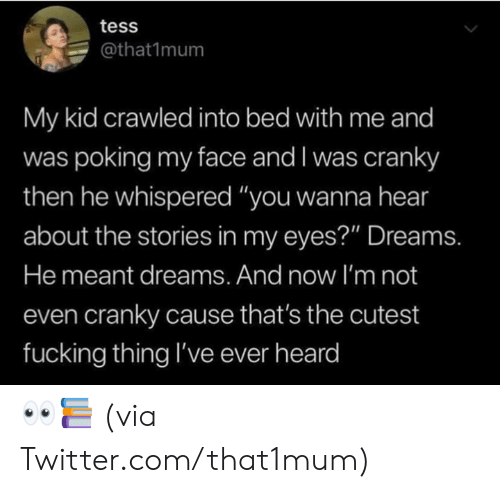 "Dank, Fucking, and Twitter: tess  @that1mum  My kid crawled into bed with me and  was poking my face and I was cranky  then he whispered ""you wanna hear  about the stories in my eyes?"" Dreams.  He meant dreams. And now I'm not  even cranky cause that's the cutest  fucking thing I've ever heard 👀📚  (via Twitter.com/that1mum)"