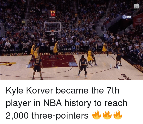 Nba, Sports, and Kyle Korver: TETISSOT  LLID Kyle Korver became the 7th player in NBA history to reach 2,000 three-pointers 🔥🔥🔥