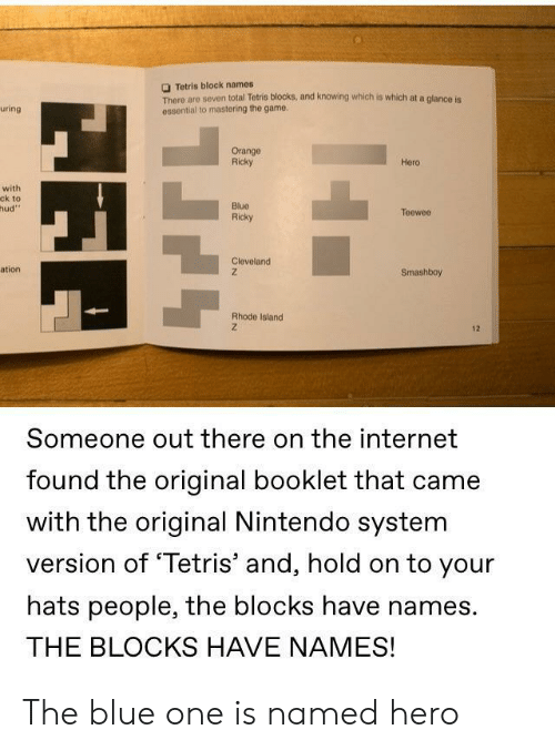 Internet, Nintendo, and The Game: Tetris block names  There are seven total Tetris blocks, and knowing which is which at a glance is  ossential to mastering the game  uring  Orange  Ricky  Hero  with  ck to  hud  Blue  Ricky  Teeweo  Cleveland  ation  Smashboy  Rhode Island  12  Someone out there on the internet  found the original booklet that came  with the original Nintendo system  version of 'Tetris' and, hold on to your  hats people, the blocks have names.  THE BLOCKS HAVE NAMES! The blue one is named hero