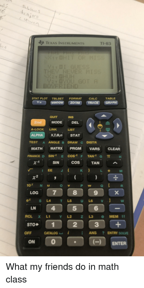 Friends, Link, and Math: TEXAS INSTRUMENTS  TI-83  QUITINS  2nd  A-LOCK LINK LIST  ALPHAX,Te STAT  MODE  DEL  TEST A ANGLE B DRAW C DISTR  MATH MATRX PRGM VARS CLEAR  FINANCED SIN-1 E COS-1 F TAN-1 G π H  X'I SIN COS TAN ^  「 IEE  K LeM  2  LOG  LN  STO◆  OFF caALOG︼ǐ . ANS ? ENTRY SOLVE  0  (- ENTER  ON