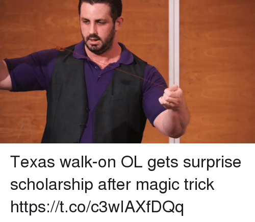 Magicant: Texas walk-on OL gets surprise scholarship after magic trick https://t.co/c3wIAXfDQq