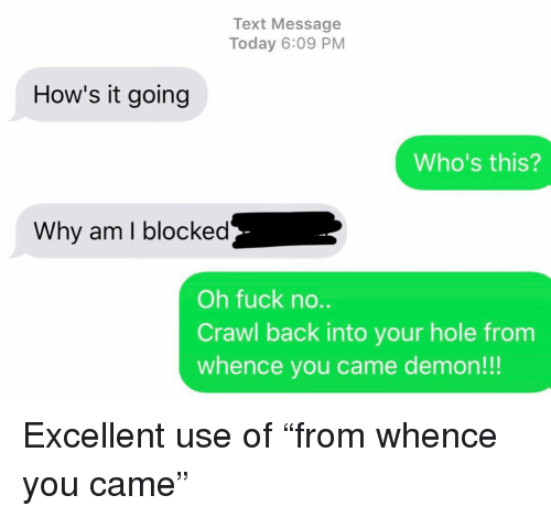 """Relationships, Texting, and Fuck: Text Message  Today 6:09 PM  How's it going  Who's this?  Why am I blocked  Oh fuck no..  Crawl back into your hole from  whence you came demon!!! Excellent use of """"from whence you came"""""""
