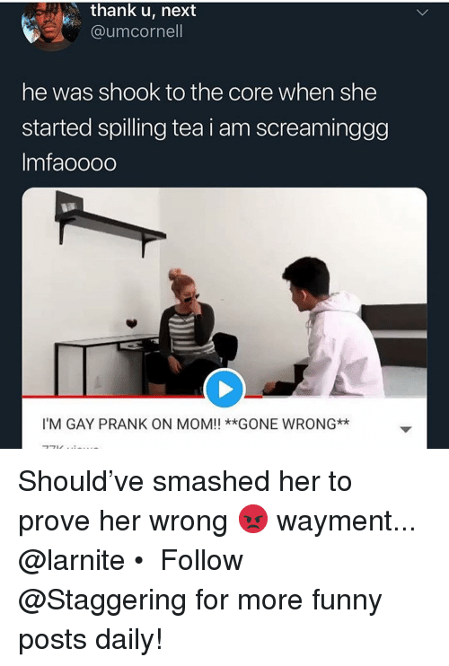 Gone Wrong: thank u, next  @umcornell  he was shook to the core when she  started spilling tea i am screaminggg  Imfaoooo  I'M GAY PRANK ON MOM!! **GONE WRONG* Should've smashed her to prove her wrong 😡 wayment... @larnite • ➫➫➫ Follow @Staggering for more funny posts daily!