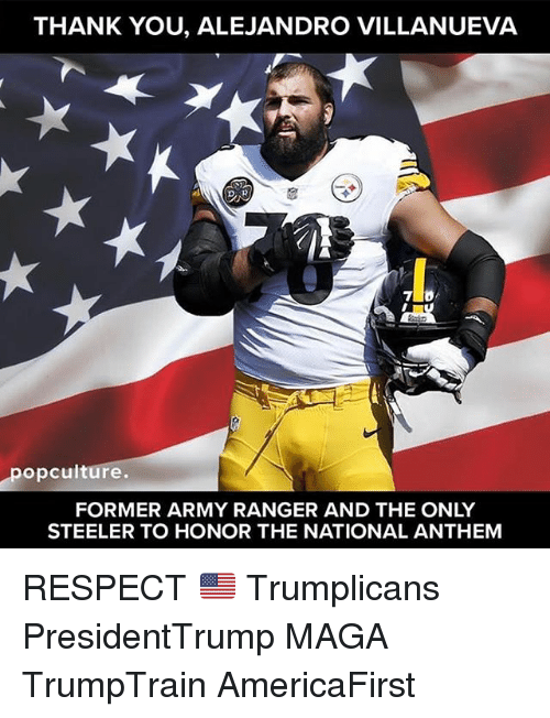 steeler: THANK YOU, ALEJANDRO VILLANUEVA  opculture.  FORMER ARMY RANGER AND THE ONLY  STEELER TO HONOR THE NATIONAL ANTHEM RESPECT 🇺🇸 Trumplicans PresidentTrump MAGA TrumpTrain AmericaFirst