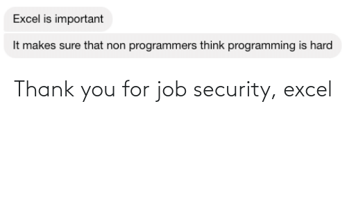 Thank You: Thank you for job security, excel