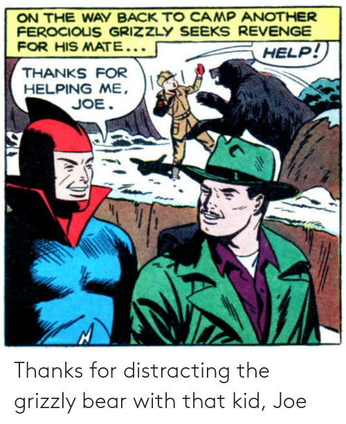 Distracting: Thanks for distracting the grizzly bear with that kid, Joe