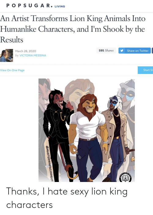 Lion King: Thanks, I hate sexy lion king characters