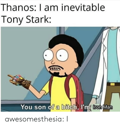 Bitch: Thanos: I am inevitable  Tony Stark:  You son of a bitch, I'm tron Man awesomesthesia:  I